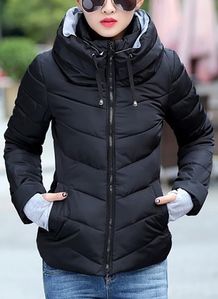 Long Sleeve Hooded Zipper Padded Coats