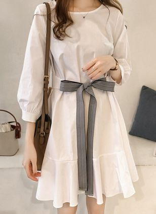 Solid Ruffles Wrap Knee-Length Shift Dress