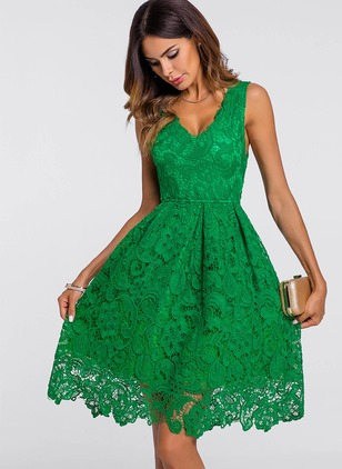 Floral Lace Skater Knee-Length A-line Dress