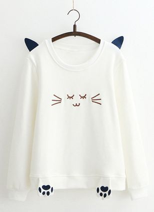 Camisetas Informal Manga larga Cuello redondo Animal