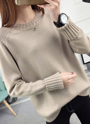 Round Neckline Solid Loose Regular Shift Sweaters Sweaters