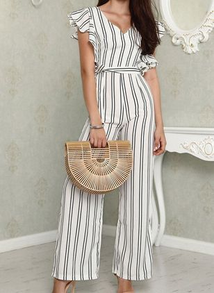 Stripe Cap Sleeve Jumpsuits & Rompers