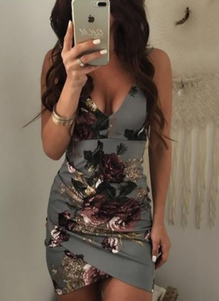 Floral Slip Sleeveless Above Knee Bodycon Dress