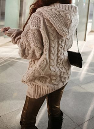 Women Knitted Hooded Cardigan Sweater Winter Autumn Warm Loose Outwear Tops