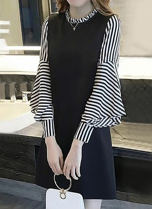 Stripe Long Sleeve Above Knee Dress