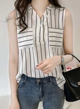 Stripe Casual V-Neckline Sleeveless Blouses