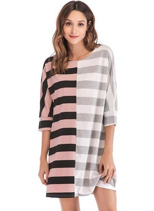 Stripe Sweatershirt 3/4 Sleeves Above Knee Shift Dress