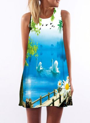 Character Tank Sleeveless Above Knee Shift Dress