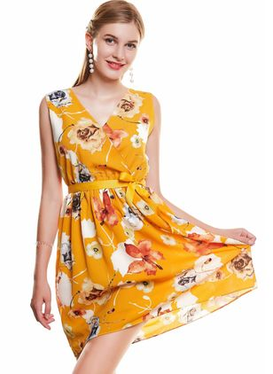 Floral Wrap Sleeveless Above Knee A-line Dress