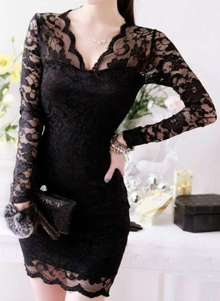 Solid Lace Pencil Above Knee Bodycon Dress