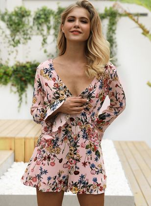 Floral Ruffles Long Sleeve Above Knee Dress