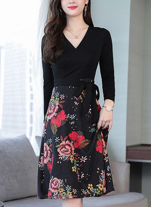 Floral Drop waist Long Sleeve Knee-Length A-line Dress
