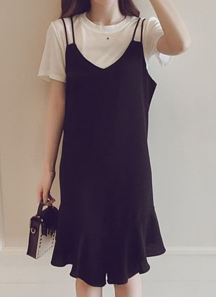 Solid Ruffles Short Sleeve Knee-Length Shift Dress