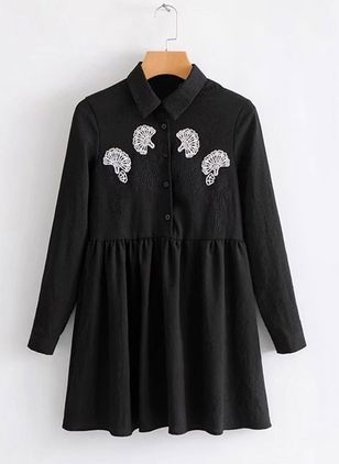 Solid Buttons Shirt Above Knee Shift Dress
