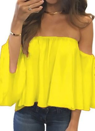 Solid Sexy Off the Shoulder 3/4 Sleeves Blouses