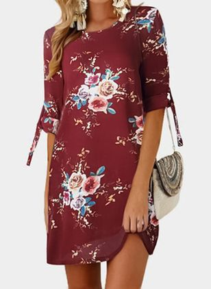 Summer New Fashion Five Points Sleeve Print Tie Round Neck Dress Plus Размер Платье