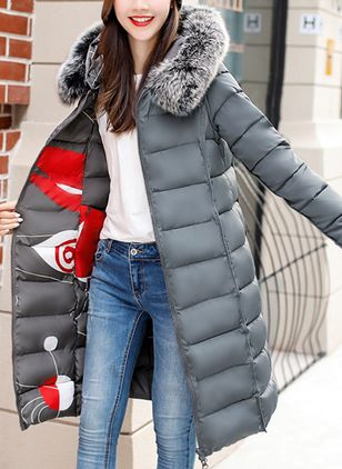 Women's Reversible Down Cotton Jackets Cotton-Padded Winter Casual Coat Large Fur Collar with Hoody Plus Size S-XXXL