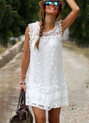 Solid Lace Sleeveless Above Knee Shift Dress