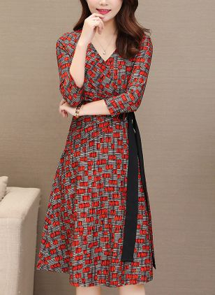 Solid Wrap 3/4 Sleeves Knee-Length Dress