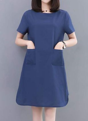 Solid Pockets Tshirt Short Sleeve Knee-Length Dress