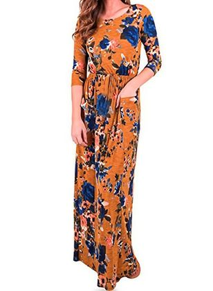 Floral Pockets 3/4 Sleeves Maxi A-line Dress