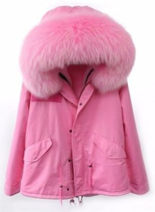 Women's Large Raccoon Fur Collar Hooded Coat Parkas Outwear Padded Lining Winter Jacket Brand Style