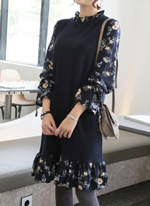 Floral Drop waist Long Sleeve Knee-Length Shift Dress
