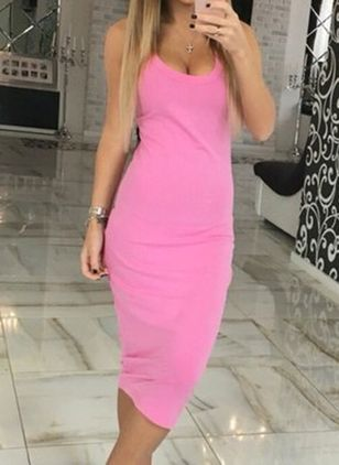 Solid Pencil Sleeveless Midi Bodycon Dress