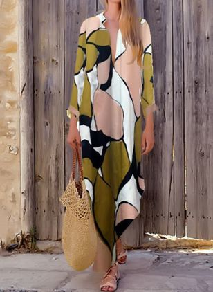 Color Block Long Sleeve Maxi Shift Dress