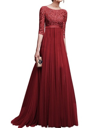 Solid Embroidery Half Sleeve Maxi A-line Dress