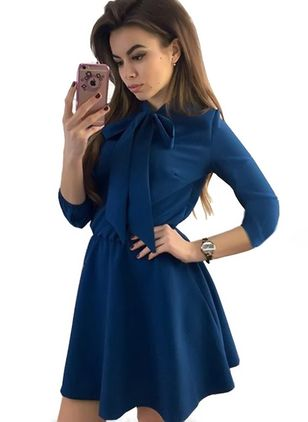 Solid Bow 3/4 Sleeves Above Knee A-line Dress