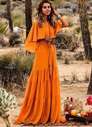 Solid Half Sleeve Maxi Shift Dress