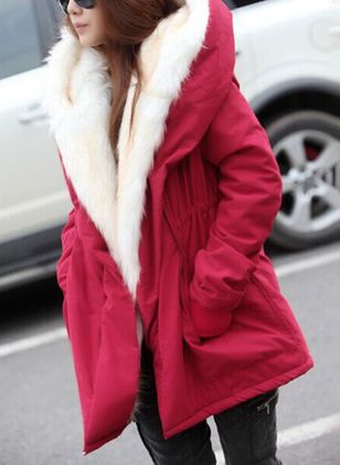 Winter jacket with thicker women's fittings large-haired collar, down, cotton jacket and cotton jacket