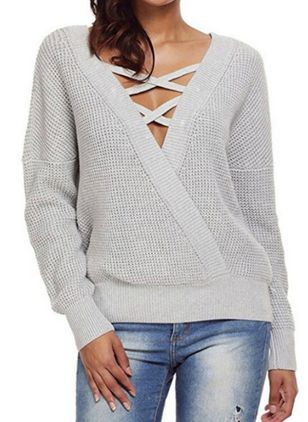 Long Sleeve Round Neck Hollow Out Sweaters