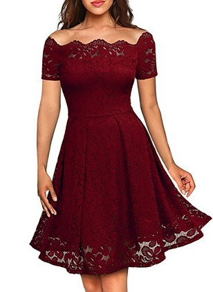 Floral Lace Skater Above Knee A-line Dress