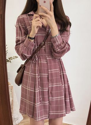 Plaid Buttons Shirt Above Knee Shift Dress