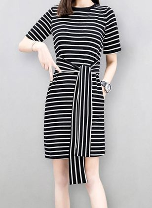 Stripe 3/4 Sleeves Above Knee Dress