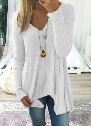 Others Solid Loose Long Sweaters