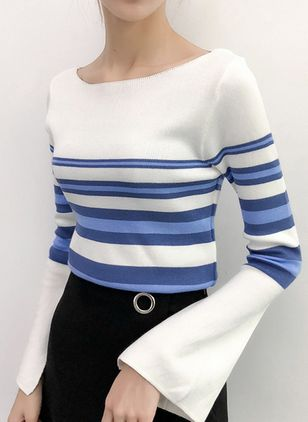 Boat Neckline Stripe Tight Regular Sweaters