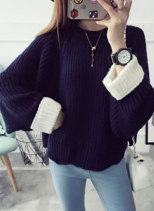 High Neckline Solid Loose Regular None Sweaters