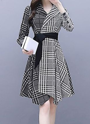 Color Block Wrap Long Sleeve High Low A-line Dress