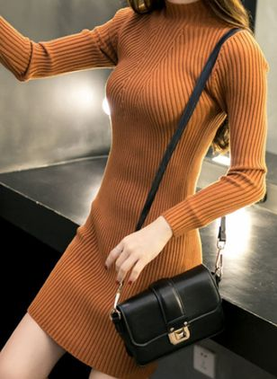 Round Neckline Solid Tight Regular Sweaters