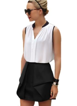 Solid Casual Sleeveless Blouses