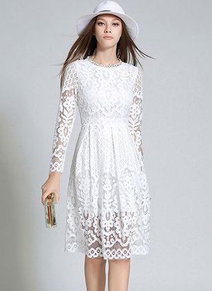 Solid Hollow Out Long Sleeve Knee-Length Shift Dress