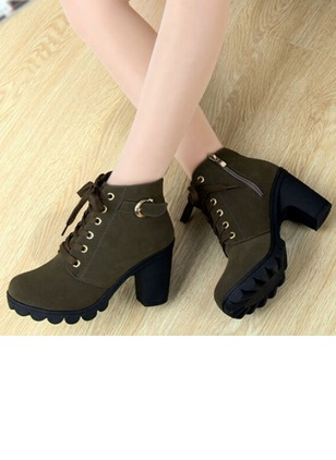 Lace-up Ankle Boots Chunky Heel Shoes