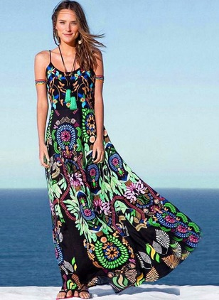 Floral Slip Sleeveless Maxi Shift Dress