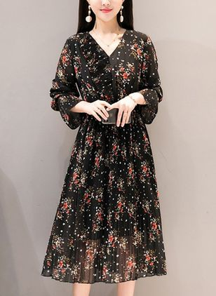 Floral Peasant Long Sleeve Midi A-line Dress