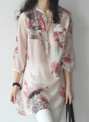 Floral Casual Round Neckline 3/4 Sleeves Blouses
