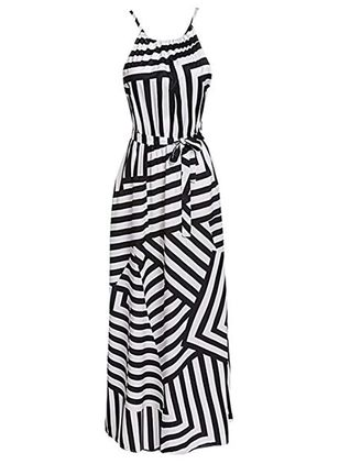 Stripe Ruffles Slip Sleeveless Maxi Dress