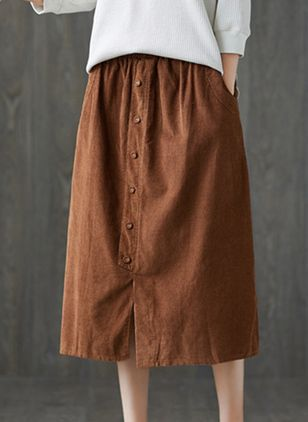 Solid Mid-Calf Casual Buttons Pockets Skirts